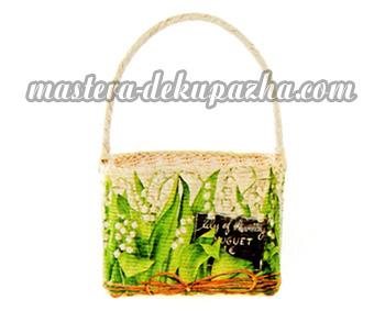Декупаж плетеной сумки-корзинки 13