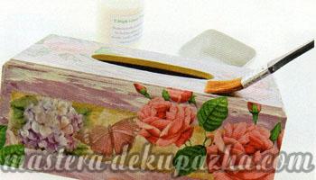 Декупаж деревянной салфетницы 19