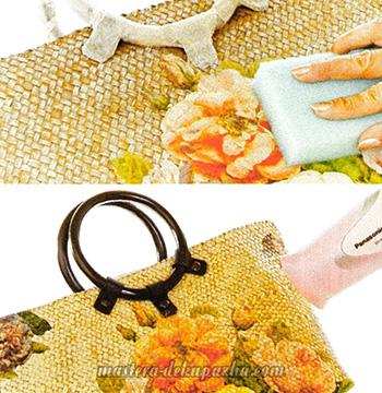Декупаж плетеной сумки цветочным орнаментом 6