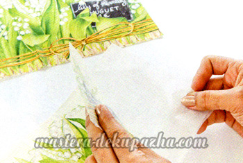 Декупаж плетеной сумки-корзинки 7