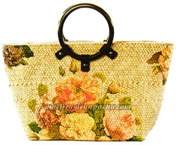 Декупаж плетеной сумки цветочным орнаментом 8
