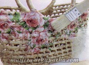 Декупаж плетеной корзины из джута 11