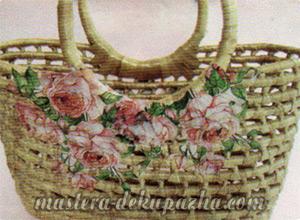 Декупаж плетеной корзины из джута 12
