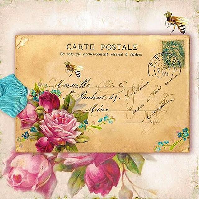 Картинки для декупажа - конверт и пионы