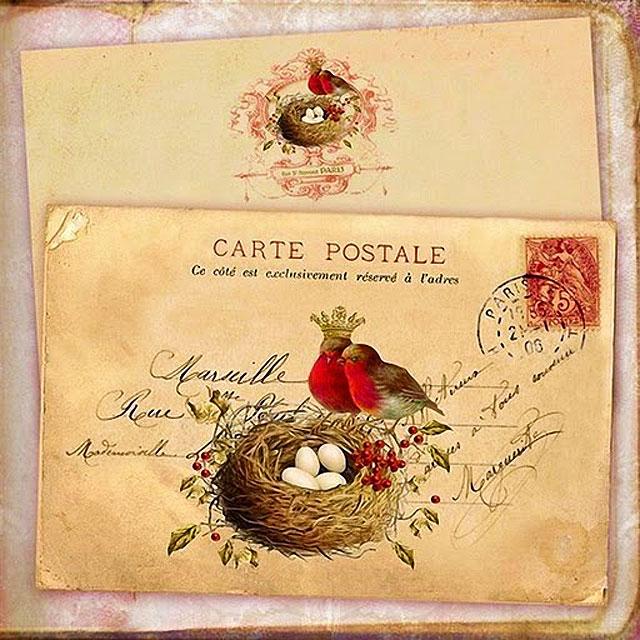 Картинки для декупажа - конверт и птица