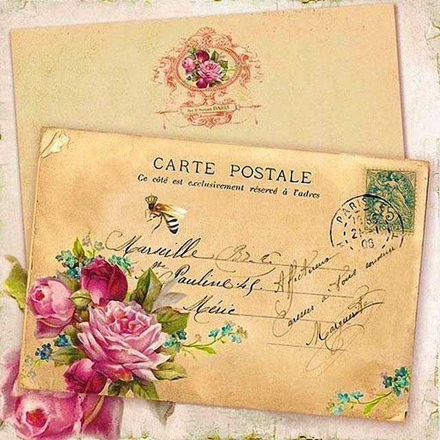 Картинки для декупажа - открытка и цветы