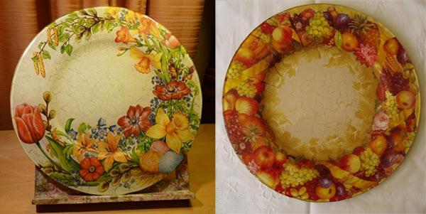 декупаж тарелки цветы