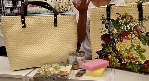 Обычная соломенная сумка превратилась в сумку с голландаским натюрмортом.