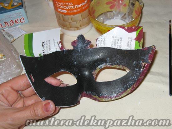 Декупаж маски к новому году 14