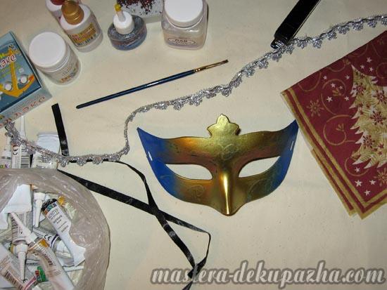 Декупаж маски к новому году 1