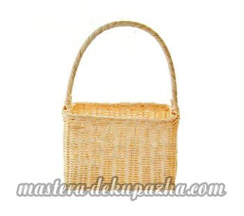 Декупаж плетеной сумки-корзинки 2