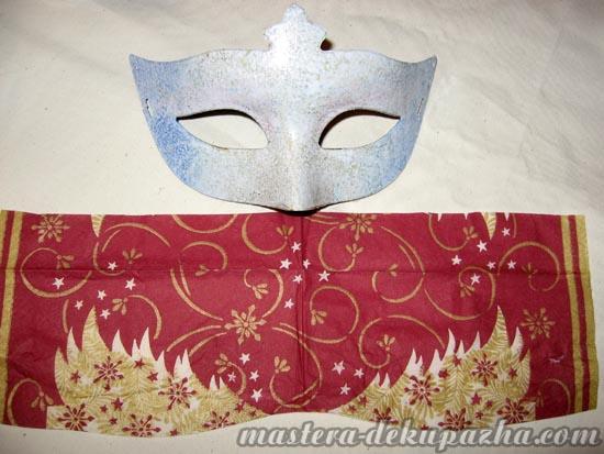 Декупаж маски к новому году 5