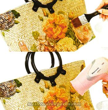 Декупаж плетеной сумки цветочным орнаментом 7