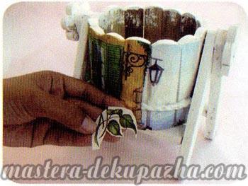 Декупаж деревянного кашпо своими руками 7