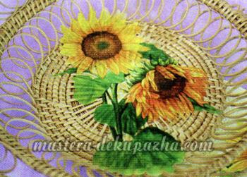 Декупаж плетеной тарелки 11